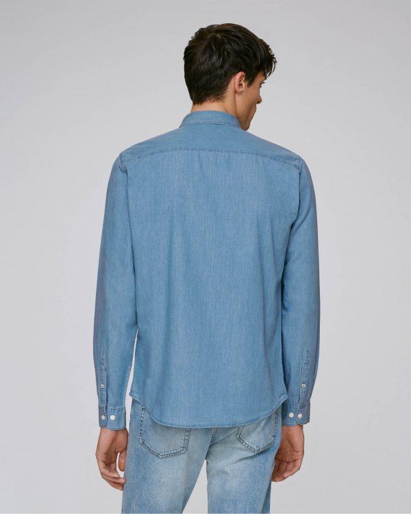 Val Sauvage denim shirt light mockup back