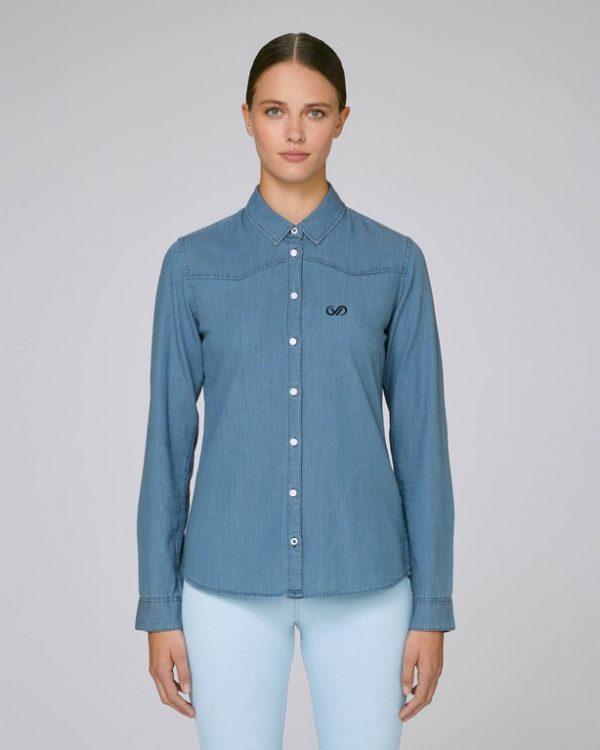 Val Sauvage logo women denim shirt mockup front