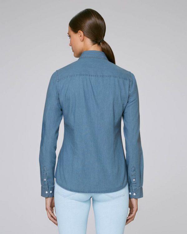 Val Sauvage logo women denim shirt mockup back